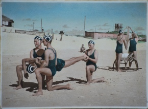 The hand coloured photos of Byron Bay surf life savers