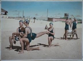 The hand coloured photos of Byron Bay surf lifesavers