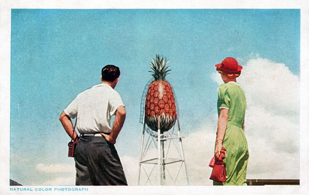 The 100,000 gallon water tank on top of the Hawaiian Pineapple Company plant was a Honolulu landmark. Image source: tinypineapple.com